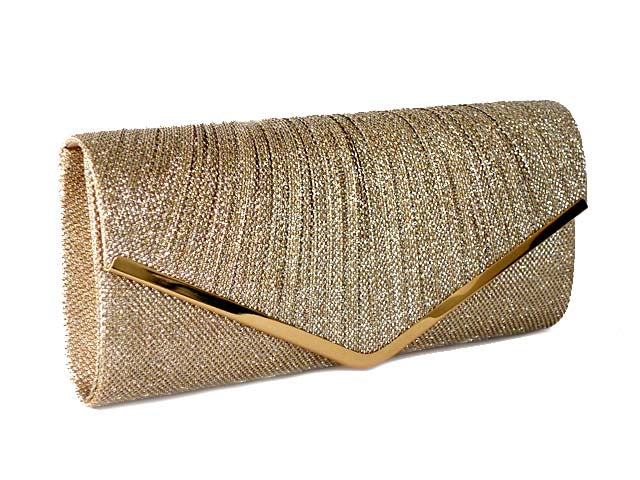 LARGE DARK PEWTER GOLD METALLIC ENVELOPE CLUTCH BAG WITH LONG CHAIN STRAP