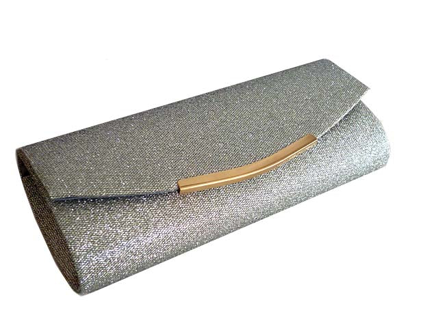 LARGE DARK PEWTER SILVER SPARKLY METALLIC CLUTCH BAG WITH LONG CHAIN STRAP