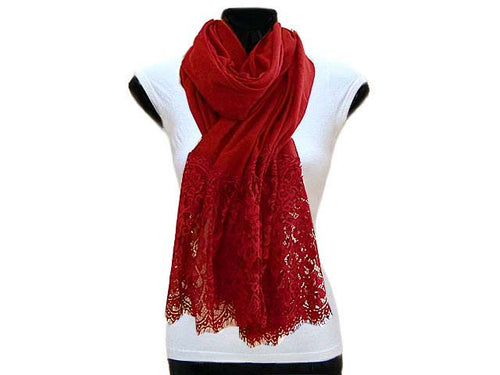 LARGE DEEP RED LACE DETAIL LIGHTWEIGHT SCARF