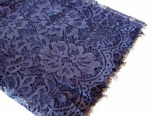 LARGE DENIM BLUE LACE DETAIL LIGHTWEIGHT SCARF