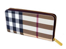 LARGE DESIGNER STYLE BEIGE CHECKED ZIPPED PURSE