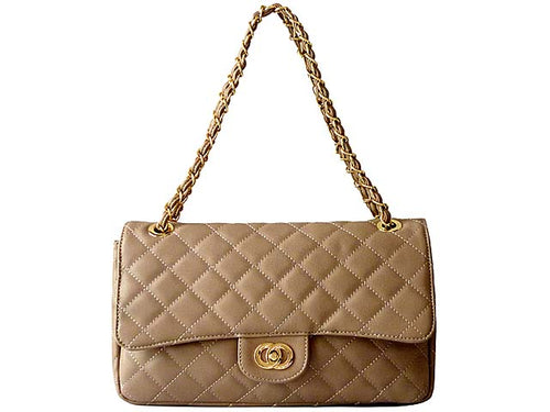 LARGE DESIGNER STYLE TAUPE BEIGE QUILTED HANDBAG WITH CROSS-BODY STRAP
