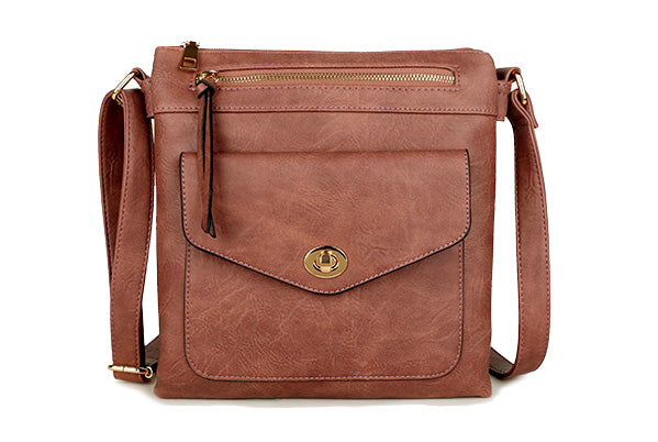 A-SHU LARGE DUSKY PINK TURN LOCK MULTI COMPARTMENT CROSS BODY SHOULDER BAG WITH LONG STRAP - A-SHU.CO.UK