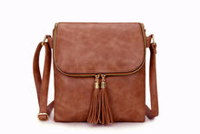 A-SHU LARGE DUSKY PINK TASSEL MULTI COMPARTMENT CROSS BODY SHOULDER BAG WITH LONG STRAP - A-SHU.CO.UK
