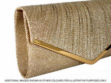 LARGE GOLD METALLIC ENVELOPE CLUTCH BAG WITH LONG CHAIN STRAP