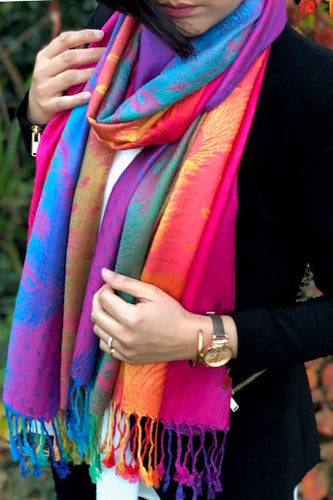 LARGE FUSCHIA PINK RAINBOW FEATHER AND LEAF PRINT PASHMINA SHAWL SCARF