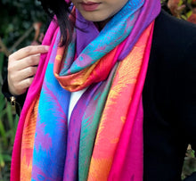 A-SHU LARGE FUSCHIA PINK RAINBOW FEATHER AND LEAF PRINT PASHMINA SHAWL SCARF - A-SHU.CO.UK