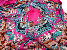 A-SHU LARGE FUSHCIA PINK SQUARE FLORAL AND PAISLEY PRINT LIGHTWEIGHT SCARF - A-SHU.CO.UK