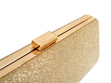 LARGE GOLD METALLIC HARD BACK BOX FRAME CLUTCH BAG WITH LONG CHAIN STRAP