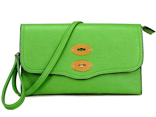 LARGE GREEN DESIGNER STYLE MULTI POCKET CLUTCH BAG WITH CROSSBODY AND WRIST STRAPS