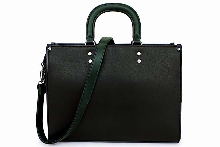 A-SHU LARGE GREEN MULTI COMPARTMENT BRIEFCASE STYLE HANDBAG WITH LONG STRAP - A-SHU.CO.UK