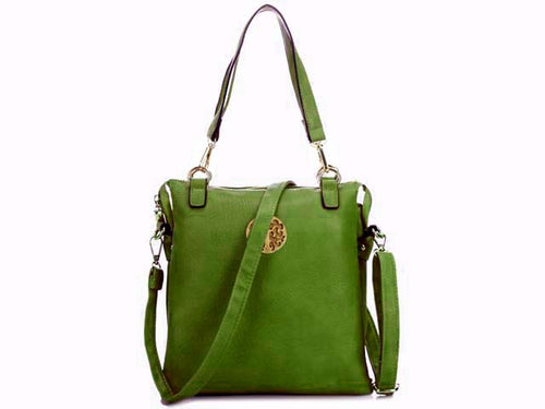 LARGE APPLE GREEN MULTI POCKET HANDBAG WITH LONG CROSS BODY STRAP