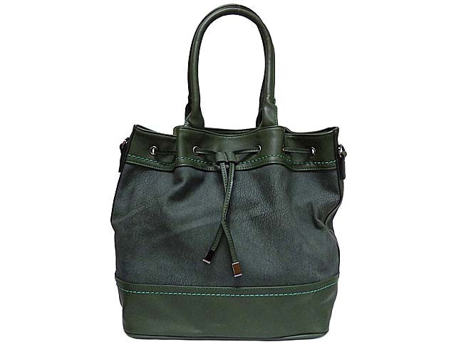 A-SHU LARGE GREEN TEXTURED LEATHER EFFECT TOTE HANDBAG WITH LONG SHOULDER STRAP - A-SHU.CO.UK