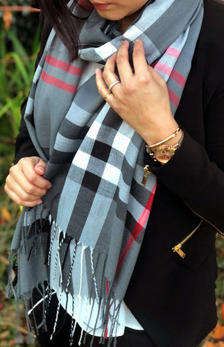 LARGE GREY CHECK PRINT TARTAN SHAWL SCARF