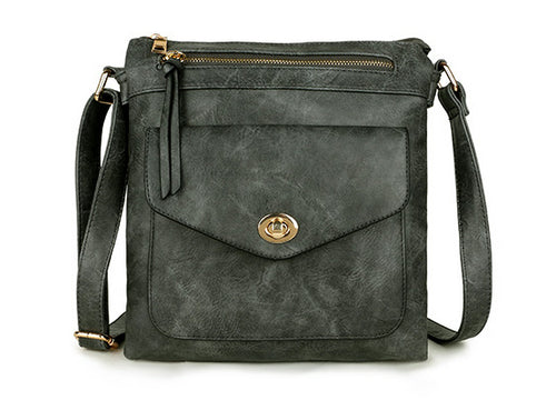 LARGE DARK GREY TURN LOCK MULTI COMPARTMENT CROSS BODY SHOULDER BAG WITH LONG STRAP