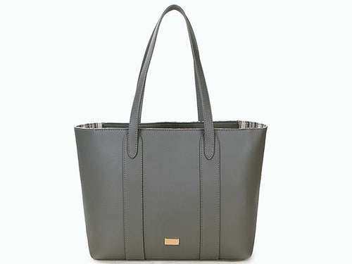 A-SHU LARGE PLAIN GREY TOTE HANDBAG WITH STRIPE INTERIOR - A-SHU.CO.UK