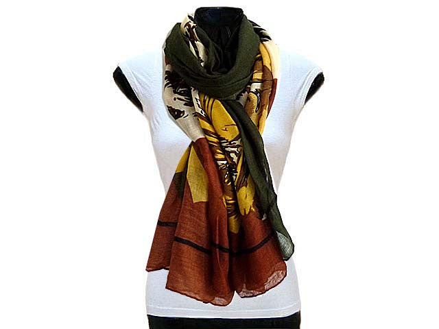 A-SHU LARGE KHAKI GREEN FLORAL PRINT PASHMINA SHAWL SCARF - A-SHU.CO.UK
