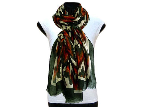 LARGE KHAKI GREEN CONTEMPORARY ZIG ZAG / CHEVRON PRINT PASHMINA SHAWL SCARF