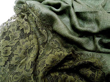 LARGE KHAKI GREEN LACE DETAIL LIGHTWEIGHT SCARF