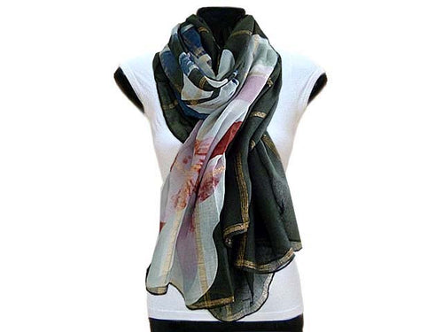 LARGE KHAKI GREEN ROSE GOLD CHECKED PASHMINA SHAWL SCARF