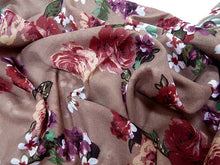 LARGE LIGHT BROWN SMALL FLORAL PRINT LIGHTWEIGHT SCARF