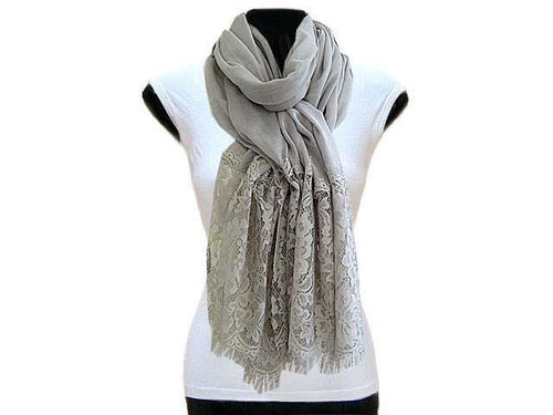 LARGE LIGHT GREY LACE DETAIL LIGHTWEIGHT SCARF