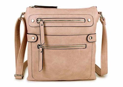 LARGE BLUSH PINK MULTI COMPARTMENT CROSSBODY BAG WITH LONG STRAP