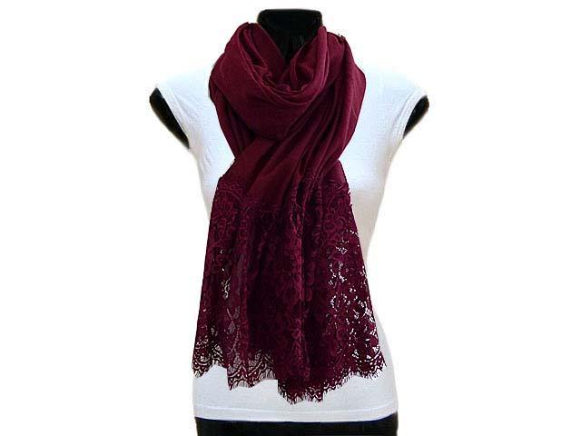 A-SHU LARGE MAROON LACE DETAIL LIGHTWEIGHT SCARF - A-SHU.CO.UK