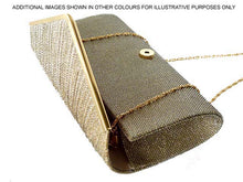LARGE ROYAL BLUE METALLIC ENVELOPE CLUTCH BAG WITH LONG CHAIN STRAP