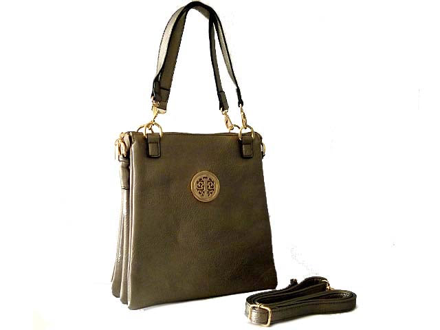 LARGE METALLIC PEWTER MULTI POCKET HANDBAG WITH LONG CROSS BODY STRAP