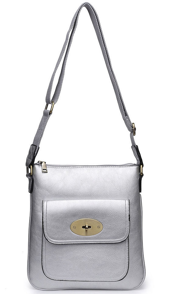 LARGE METALLIC SILVER TURN LOCK MULTI POCKET CROSS BODY MESSENGER BAG