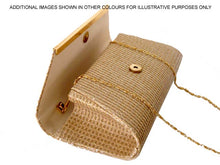 LARGE WHITE METALLIC SQUARE ENVELOPE CLUTCH BAG WITH LONG CHAIN STRAP