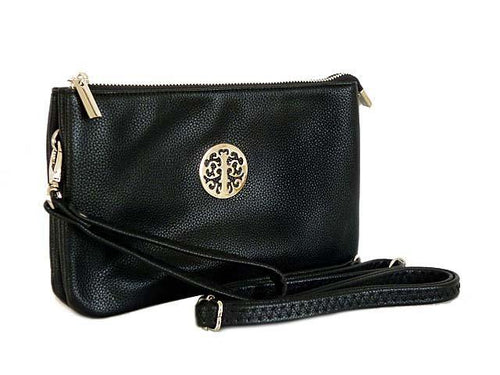 A-SHU LARGE MULTI-COMPARTMENT CROSS-BODY PURSE BAG WITH WRIST AND LONG STRAPS - BLACK - A-SHU.CO.UK