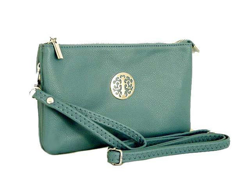 A-SHU LARGE MULTI-COMPARTMENT CROSS-BODY PURSE BAG WITH WRIST AND LONG STRAPS - BLUE - A-SHU.CO.UK