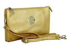 A-SHU LARGE MULTI-COMPARTMENT CROSS-BODY PURSE BAG WITH WRIST AND LONG STRAPS - METALLIC GOLD - A-SHU.CO.UK
