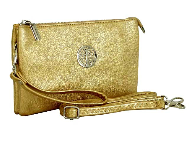 LARGE MULTI-COMPARTMENT CROSS-BODY PURSE BAG WITH WRIST AND LONG STRAPS - METALLIC GOLD