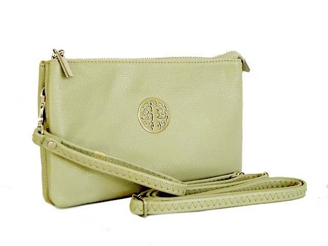 A-SHU LARGE MULTI-COMPARTMENT CROSS-BODY PURSE BAG WITH WRIST AND LONG STRAPS - LIGHT GREY - A-SHU.CO.UK