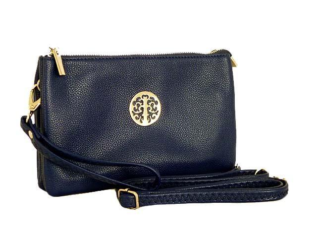 A-SHU LARGE MULTI-COMPARTMENT CROSS-BODY PURSE BAG WITH WRIST AND LONG STRAPS - NAVY BLUE - A-SHU.CO.UK