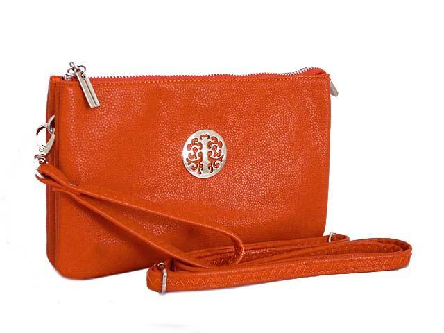A-SHU LARGE MULTI-COMPARTMENT CROSS-BODY PURSE BAG WITH WRIST AND LONG STRAPS - ORANGE - A-SHU.CO.UK