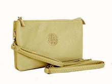 LARGE MULTI-COMPARTMENT CROSS-BODY PURSE BAG WITH WRIST AND LONG STRAPS - PALE TAUPE BEIGE