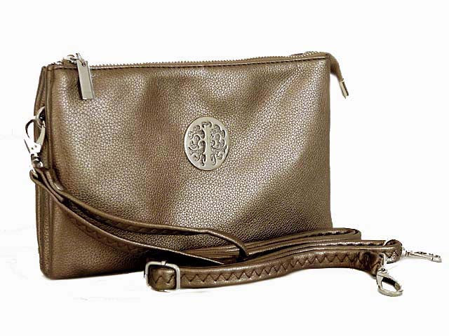 A-SHU LARGE MULTI-COMPARTMENT CROSS-BODY PURSE BAG WITH WRIST AND LONG STRAPS - METALLIC PEWTER - A-SHU.CO.UK