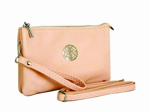 A-SHU LARGE MULTI-COMPARTMENT CROSS-BODY PURSE BAG WITH WRIST AND LONG STRAPS - PINK - A-SHU.CO.UK