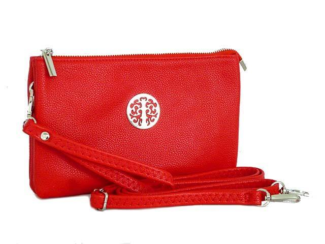 LARGE MULTI-COMPARTMENT CROSS-BODY PURSE BAG WITH WRIST AND LONG STRAPS - RED