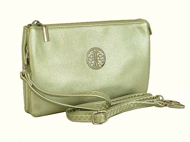 A-SHU LARGE MULTI-COMPARTMENT CROSS-BODY PURSE BAG WITH WRIST AND LONG STRAPS - METALLIC SILVER - A-SHU.CO.UK