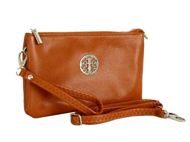 A-SHU LARGE MULTI-COMPARTMENT CROSS-BODY PURSE BAG WITH WRIST AND LONG STRAPS - TAN - A-SHU.CO.UK