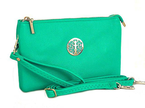 A-SHU LARGE MULTI-COMPARTMENT CROSS-BODY PURSE BAG WITH WRIST AND LONG STRAPS - TURQUOISE - A-SHU.CO.UK