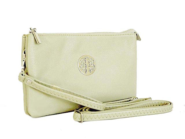 A-SHU LARGE MULTI-COMPARTMENT CROSS-BODY PURSE BAG WITH WRIST AND LONG STRAPS - WHITE - A-SHU.CO.UK