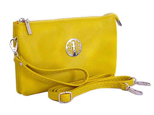 A-SHU LARGE MULTI-COMPARTMENT CROSS-BODY PURSE BAG WITH WRIST AND LONG STRAPS - YELLOW - A-SHU.CO.UK