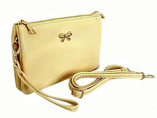 LARGE MULTI-POCKET CROSSBODY BOW PURSE BAG WITH WRIST AND LONG STRAPS - BEIGE