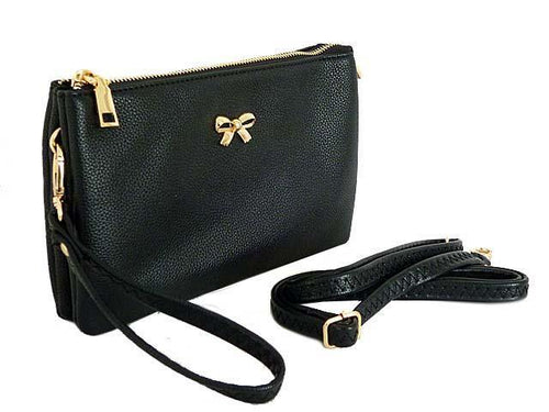 LARGE MULTI-POCKET CROSSBODY BOW PURSE BAG WITH WRIST AND LONG STRAPS - BLACK